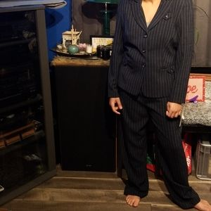 NWT Navy Blue and white pinstriped pant suit